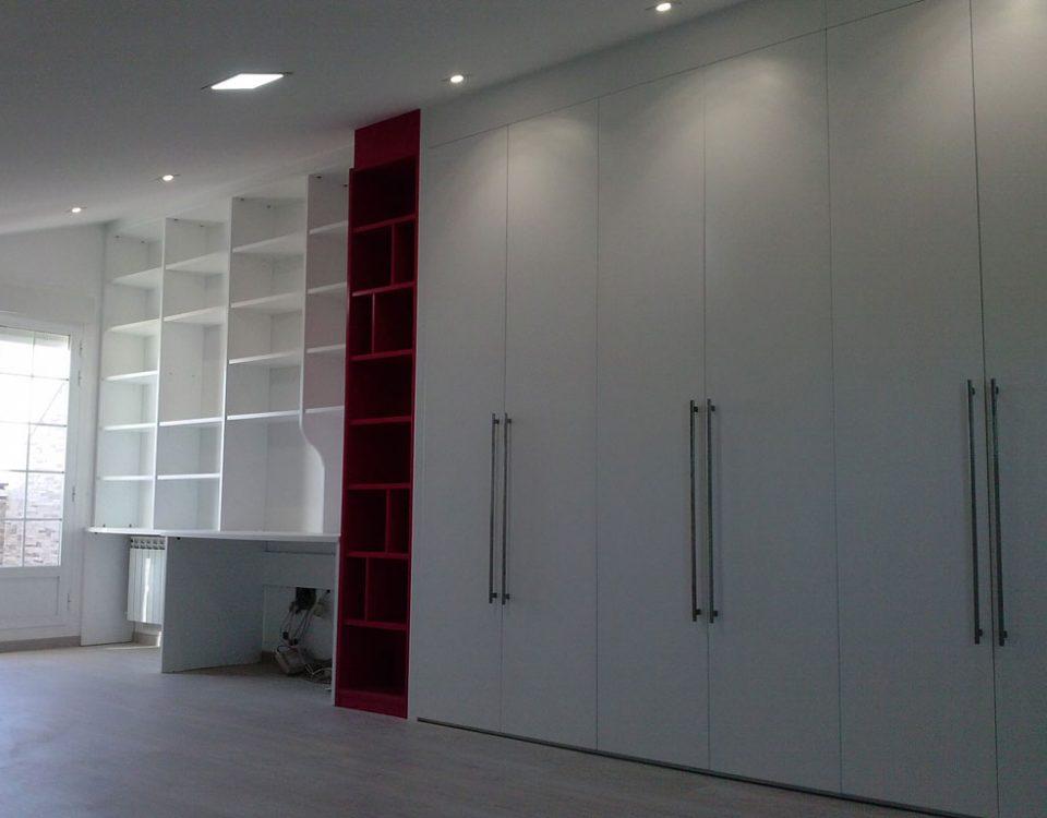 Librería estantería y armario blanco y rojo